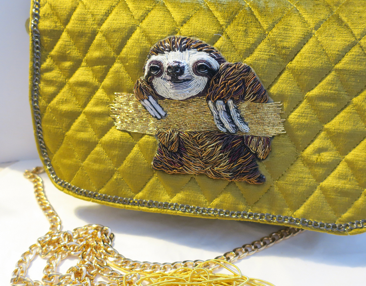Goldwork Couture Hand Embroidered Sloth Bag.