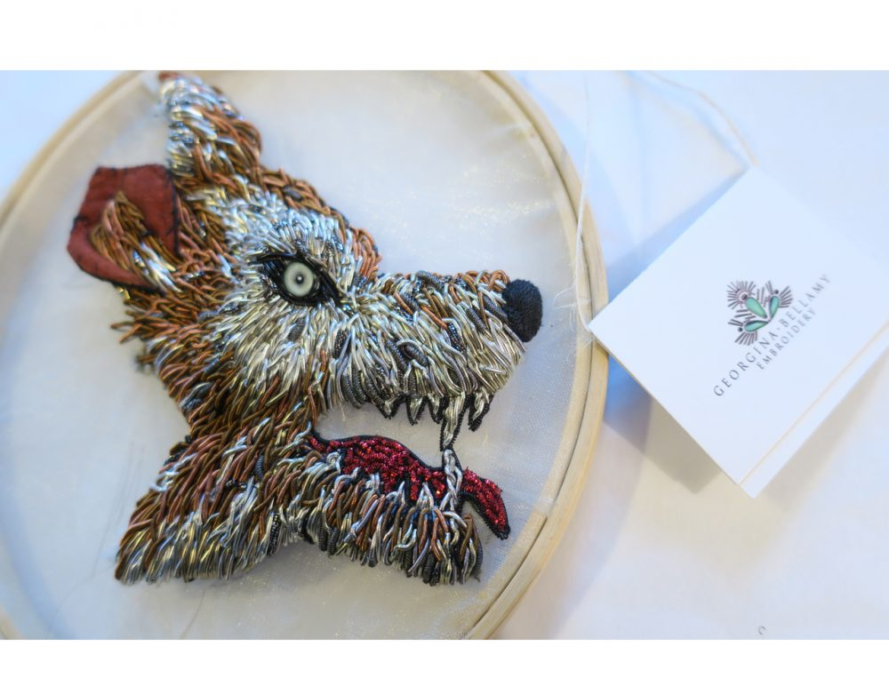 Goldwork Embroidery Wolf, Georgina Bellamy Embroidery
